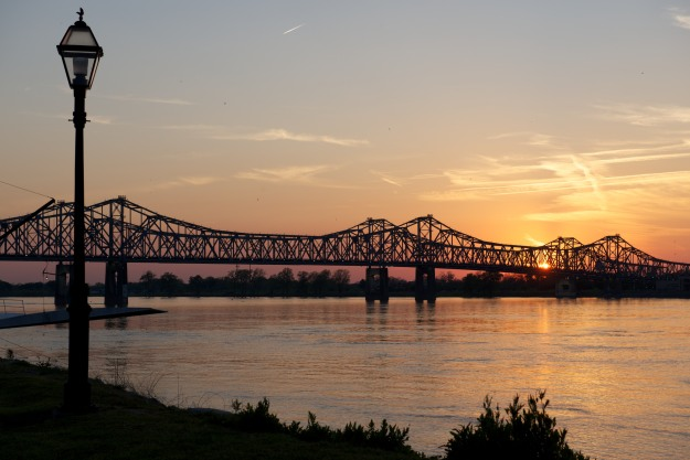 Sunset on the Mississippi as seen from Natchez under the Hill.