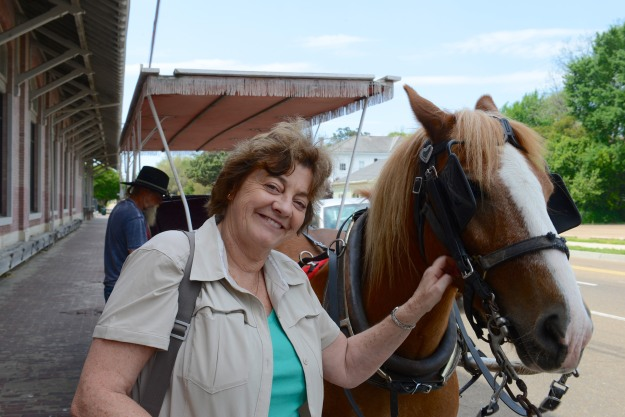 Denise making friends with the horse. (Part Welsh Pit Pony.)