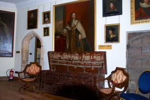 The decorations are very detailed paintings of the evolution of ships from galleys, to galleasses, to galleons.