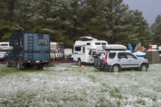 This is when you are glad that you are camping inside, as opposed to beside, your vehicle!