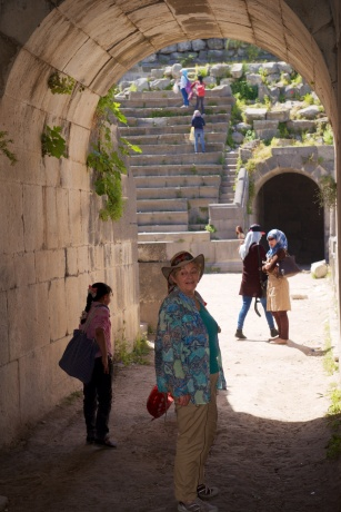 Denise in the tunnel to the stage of a theatre in Gadara.