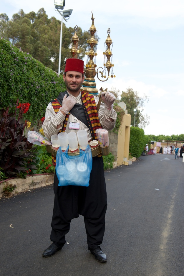 Juice seller in Turkish costume. They were everywhere when Fred was a child in Amman. This gentleman, in Taif, is updated with plastic gloves and disposable cups. The little cymbals let you hear him coming.
