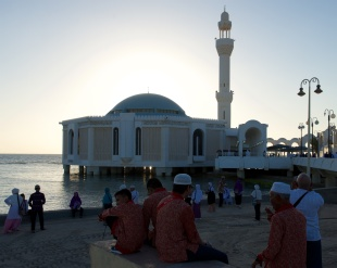 Indonesian pilgrims enjoying the sunset.