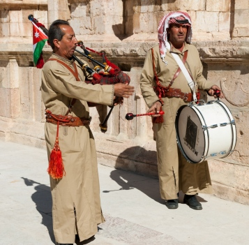 "The Jordanian Army has a corps of pipers. These retirees perform for the tourists. Fred requested, and got, ""As-Salam Al-Malaki Al-Urduni"" the old Jordanian national anthem. Link: https://www.youtube.com/watch?v=ToHFsLvQXdY (You can find anything on the Internet.)"