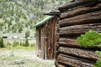 Log buildings.